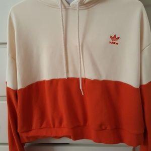 Adidas colorblocked  crop hoodie